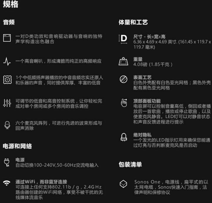 sonos one配置参数